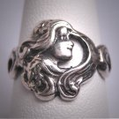 RARE Antique Art Nouveau Silver Ring Woman's Face 1890s Victorian