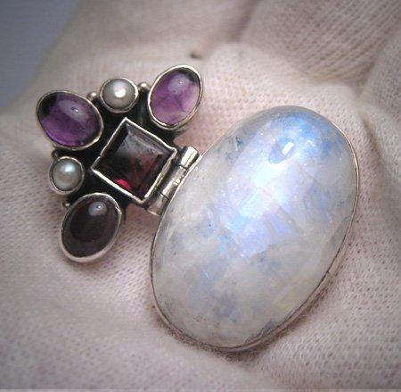 Vintage Large Moonstone Garnet Pearl Pendant Necklace Victorian Art Deco