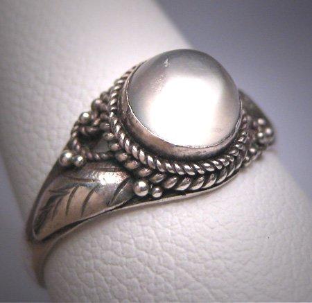 Vintage Moonstone Ring Antique Victorian Motif Silver