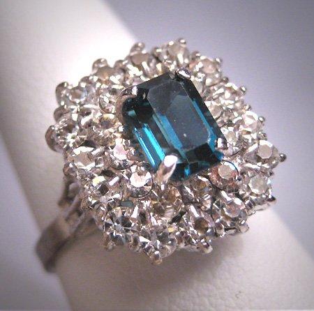 Antique Sapphire French Paste Ring Vintage Art Deco Era 1930 Wedding