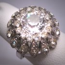 Antique White Sapphire French Paste Ring Vintage Art Deco Era 1930 Wedding