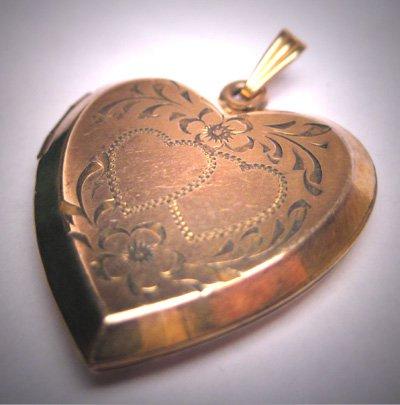Antique Victorian Gold Locket Pendant Vintage Heart Floral Double Heart 1920