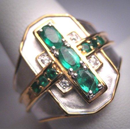 Vintage Emerald White Sapphire Ring Designer Estate Band