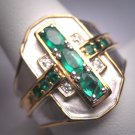 Vintage Emerald White Sapphire Ring Designer Estate Band