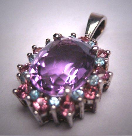 Vintage Amethyst Pink Sapphire Aquamarine Multi Gem Pendant for Necklace