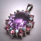 Vintage Amethyst Pink Sapphire Aquamarine Multi Gem Pendant for Necklace