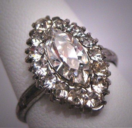 Antique Marquise Cut White Sapphire French Paste Ring Vintage Art Deco Era 1930 Wedding