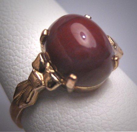 Antique Victorian Agate Ring Gold Art Deco 1920