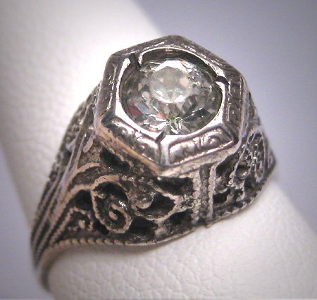 Antique White Sapphire Wedding Ring Vintage Art Deco 1920