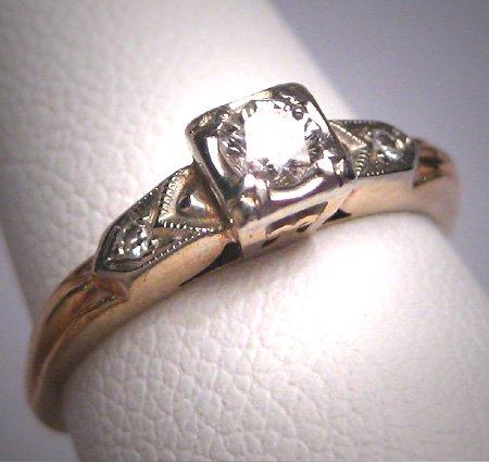 Antique Diamond Wedding Ring Victorian Art Deco Vintage 18K White Gold 1920