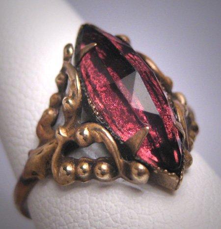 Antique Czech Amethyst Ring Vintage Art Deco Victorian c.1910