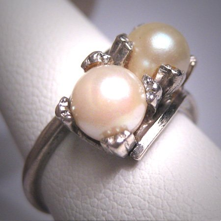 Antique Double Akoya Pearl Wedding Ring Victorian Art Deco 20s