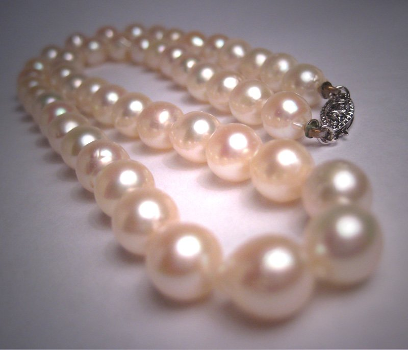 Antique Akoya Large 8mm Baroque Pearl Necklace Strand Art Deco Vintage 1930