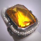 Antique Golden Citrine Seed Pearl Ring Wedding Vintage Art Deco Bow Filigree c1920