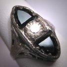 Antique White Sapphire Paste Wedding Ring Rhodium Filigree Art Deco