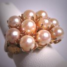 Antique Akoya Pearl Cluster Ring Vintage Retro Art Deco 50s