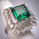 Antique Emerald French Paste Ring Vintage Art Deco Era 1930 Wedding