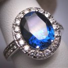 Vintage Blue Sapphire Ring Retro Art Deco Wedding Estate