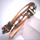 Antique Victorian Ornate Turquoise Bangle Bracelet Rose Gold 1800