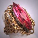Antique Czech Pink Sapphire Paste Ring Vintage Art Deco Victorian
