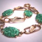 Antique Apple Green Jade Paste Bracelet Gold Vintage Art Deco 1930