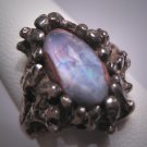 Antique Moonstone Opal Ring Vintage Retro Modernist Silver 50s Wedding