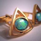 Antique Vintage Modernist Australian Opal Cufflinks Gold Gilt Silver Designer 1950