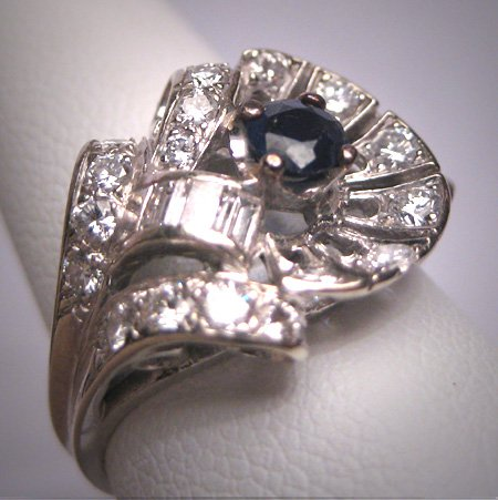 Antique Sapphire Diamond Wedding Ring Vintage Art Deco 1930
