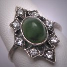 Antique Connemara Marble Jade Green Wedding Ring Vintage Art Deco Irish 1920 Estate