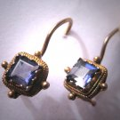 Vintage Georgian Victorian Revival Iolite Tanzanite Amethyst Violet Earrings