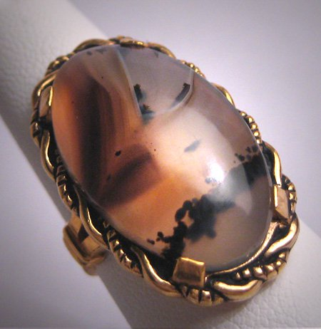 Antique Victorian Agate Ring Gold Floral Art Deco 1920