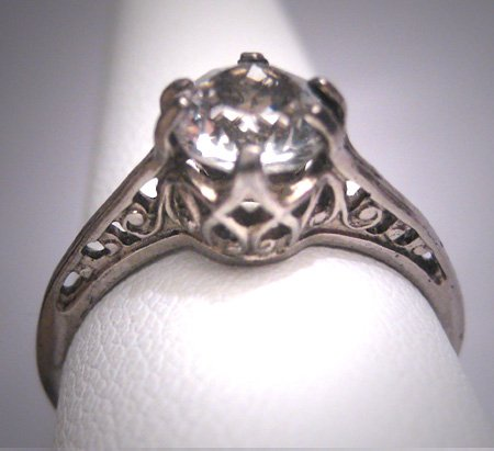 Antique White Sapphire Wedding Ring Vintage Art Deco Engagement c.1900