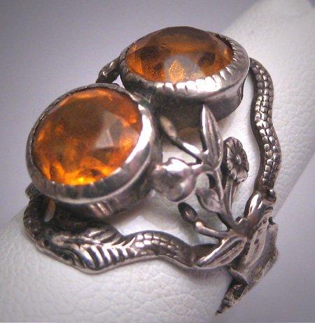 Antique Citrine French Paste Snake Ring Vintage Victorian Art Deco Floral Garden Wedding