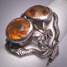 Antique Citrine French Paste Snake Ring Vintage Victorian Art Deco Floral Garden Wedding