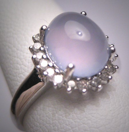 SOLD Estate Blue  Moonstone Diamond Ring Vintage Art Deco Style Wedding White Gold Engagement