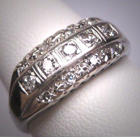 Antique Triple 3 Row Diamond Wedding Ring Band Art Deco 14K Engagement Anniversary 1930