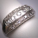 Antique Triple 3 Row Diamond Wedding Ring Band Art Deco 14K Engagement Anniversary 1930