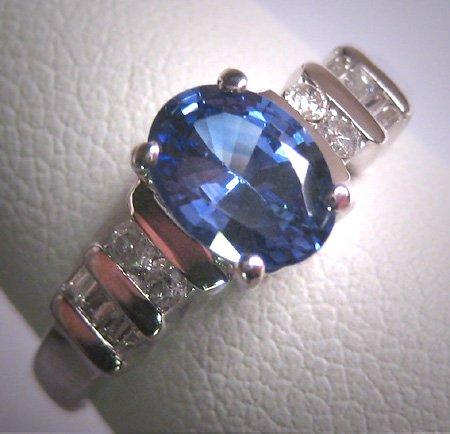 Vintage Sapphire Diamond Wedding Ring Art Deco 14K White Gold Engagement Anniversary