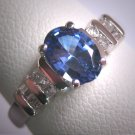 Vintage Sapphire Diamond Wedding Ring Art Deco 14K White Gold Engagement Anniversary