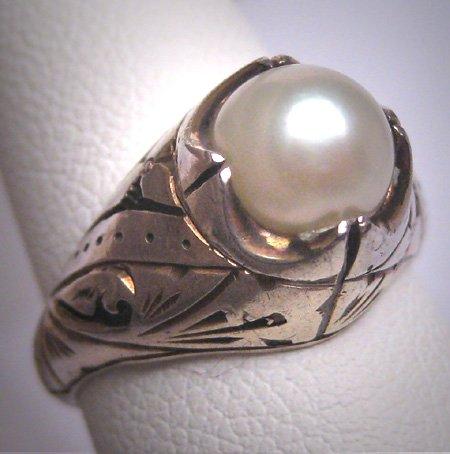 Antique Pearl Wedding Ring Vintage Victorian Art Deco c.1920
