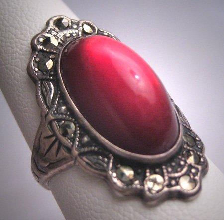 Antique Art Deco Ruby Rose Cut Wedding Ring Vintage Engagement 1920