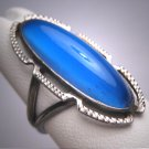 Antique Art Deco Long Blue Sapphire Wedding Ring Vintage Filigree Engagement 1920