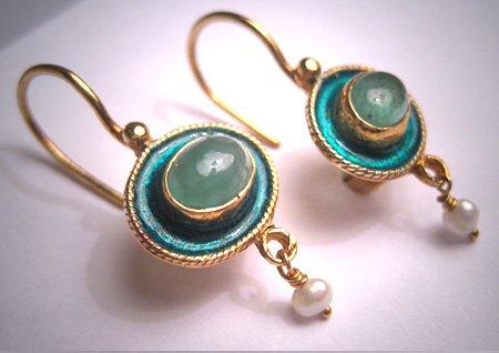 Vintage Georgian Victorian Revival Enamel Emerald Pearl Drop Earrings