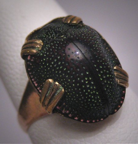 Rare Antique Scarab Ring Vintage Victorian Art Deco Gold c.1900 - Egyptian Revival