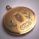 Antique Victorian Floral Garnden Gold Locket Necklace Vintage Rose Yellow Gold c.1920