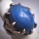 Vintage Large Lapis Ring Estate Jewelry Ornate Retro Setting Mid Century Modern c.1950