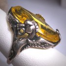 Rare Antique Citrine Paste Ring with Dragons Victorian Art Nouveau Deco Wedding c.1900 Czech