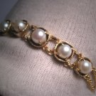 Antique Pearl Link Bracelet Gold Upon Silver Japanese Akoya c.1920 Art Deco