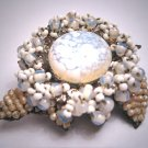 Rare Early Miriam Haskell Art Glass Opal and Pearl  Brooch Pin Vintage 1940 Hand Beaded Designer