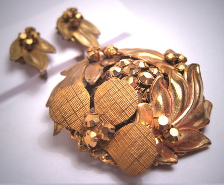 Rare Early Miriam Haskell Gold Rhinestone Russian Gold Gilt Brooch Pin Earrings Vintage 1940-50's